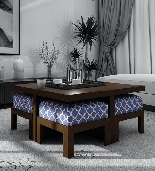 Buy Trendy Coffee Table With 4 Stools In Indigo Colour By Arra Online Nesting Coffee Tables Sets Tables Furniture Pepperfry Product