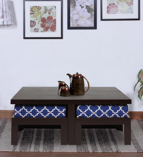 Trendy Coffee Table With Four Stools In Indigo Colour By ARRA
