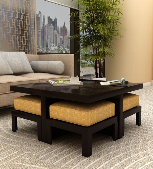 Coffee Table With Stools.Trendy Coffee Table With Four Stools In Ochre Colour By Arra