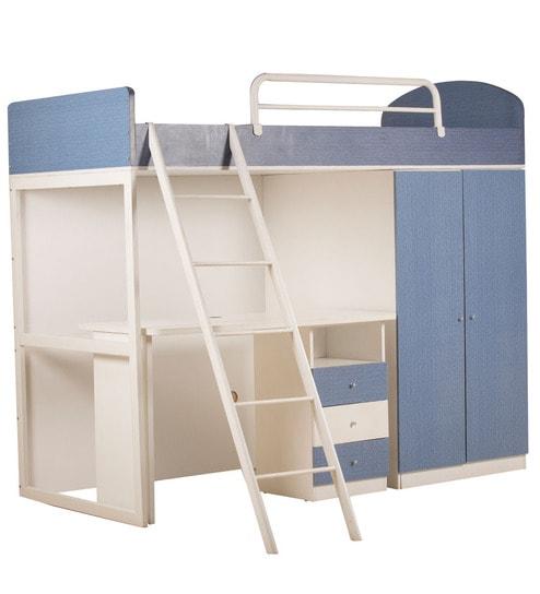 Buy Trendy Denim Space Saver Bunk Bed Cum Wardrobe Storage Cum Study