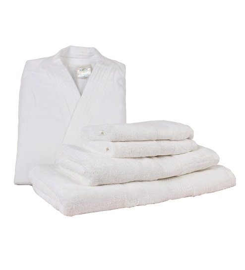 WE ARE SORRY BUT THIS ITEM IS OUT OF STOCK. We Have Put Together These  Similar Items For You. Have A Look. Trident White Cotton 5-piece Bathrobe   Towel  Set 445a24b99