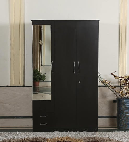 Trois Three Door Wardrobe With Mirror In Wenge Finish By Fullstock Online Modern 3 Wardrobes Furniture Pepperfry Product