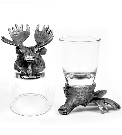 Trove World Of Animal Pewter and Glass 50ML 2-piece Moose and Deer Head  Shot Glasses