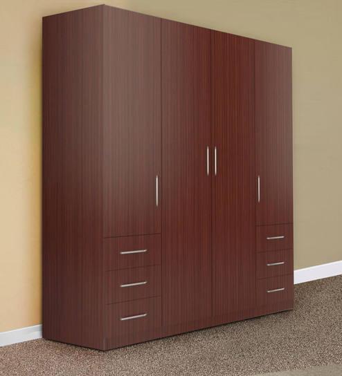 Buy Troy Four Door Wardrobe In Asian Classic Plank Walnut Finish By