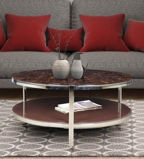 Buy Troy Glass Top Centre Table In Brown Colour By Hometown Online