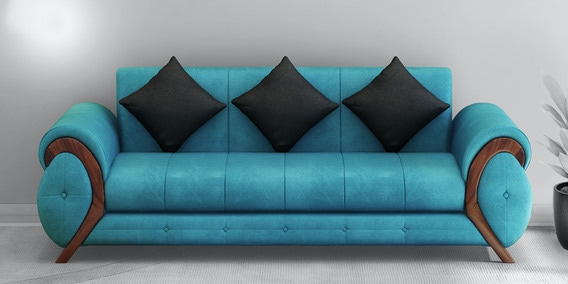 Buy Trendy 3 Seater Sofa In Aqua Blue Colour By Muebles Casa Online Rolled Arms Sofa Sets Sofa Sets Furniture Pepperfry Product