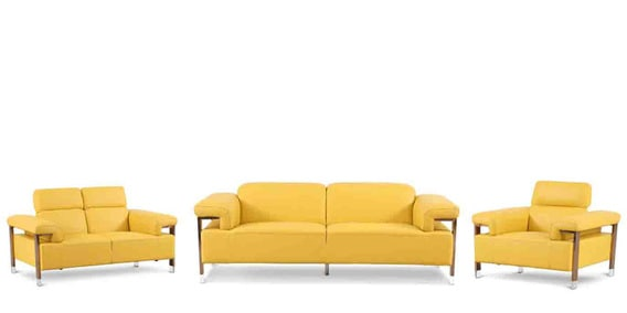 Perfect Trevor Six Seater Sofa Set (3+2+1) In Yellow Colour By