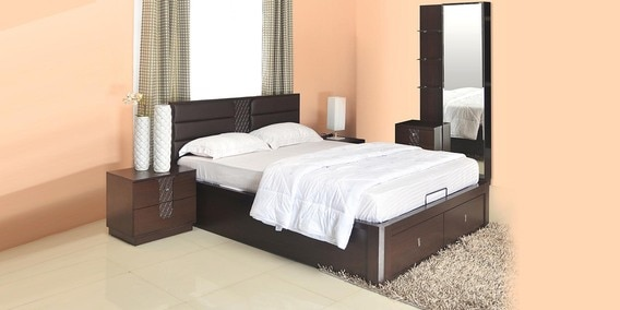 Buy Triumph King Size Bedroom Set In Dark Walnut Colour By Home Online Bed Room Sets Bed
