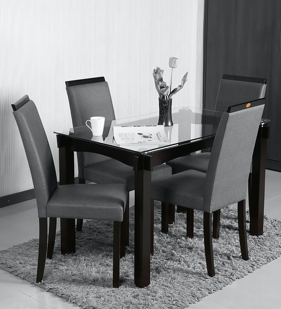 Buy Tradon 4 Seater Dining Set In Black Grey Colour By Parin Online Modern 4 Seater Dining Sets Dining Furniture Pepperfry Product