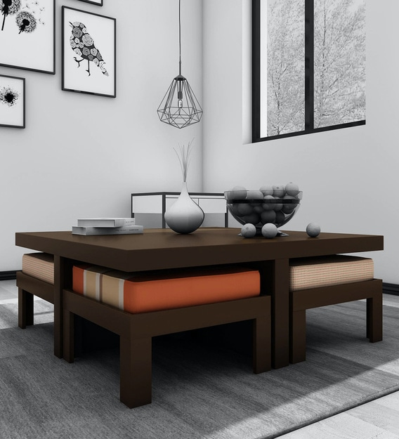 Buy Trendy Coffee Table Set With 4 Stools In Rust Delite Colour By Arra Online Nesting Coffee Tables Sets Tables Furniture Pepperfry Product