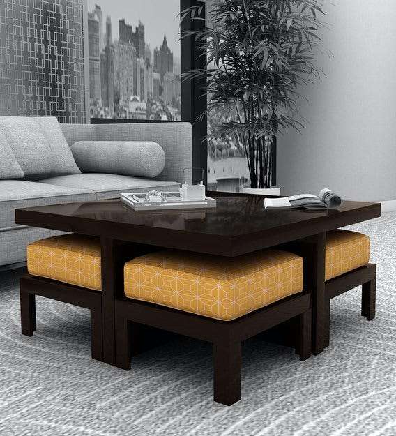 Buy Trendy Coffee Table With 4 Stools In Ochre Colour By Arra Online Nesting Coffee Tables Sets Tables Furniture Pepperfry Product