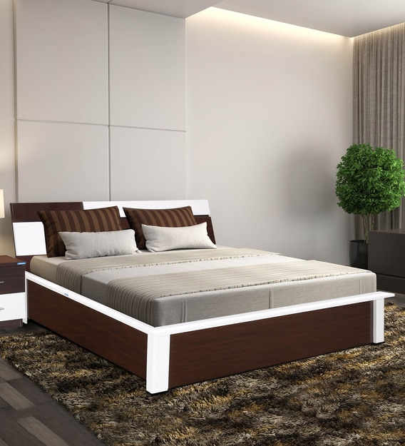 Buy Tristar Queen Size Bed With Storage In Brown White Finish By Nilkamal Online Contemporary Queen Size Beds Beds Furniture Pepperfry Product