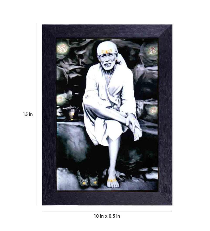 Translight Paper 10 x 0 5 x 15 Inch Vintage Sai Baba Led Frame Digital Art  Print by Decor Design