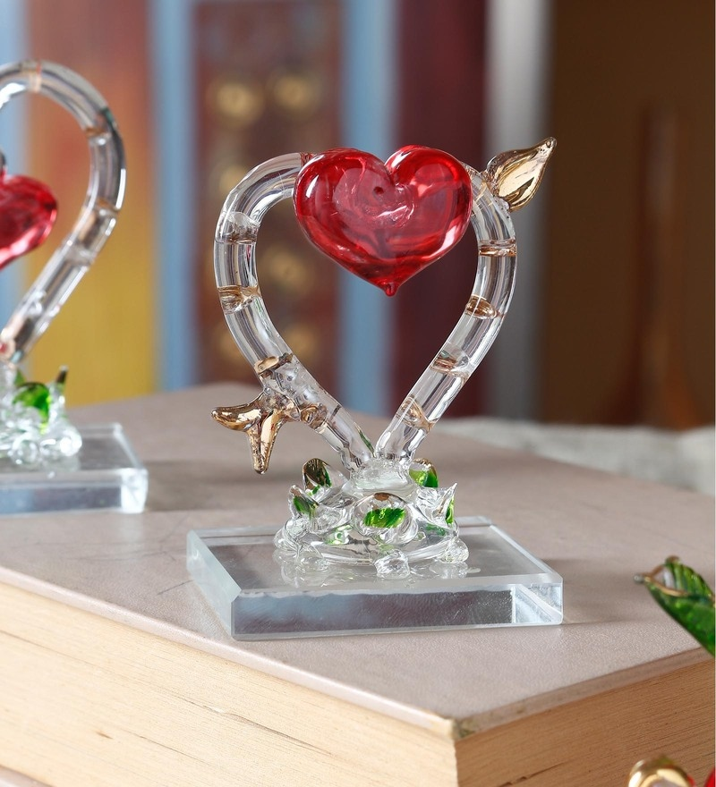 Transparent and Red Glass Beautiful Decorative Heart Showpiece by Anasa