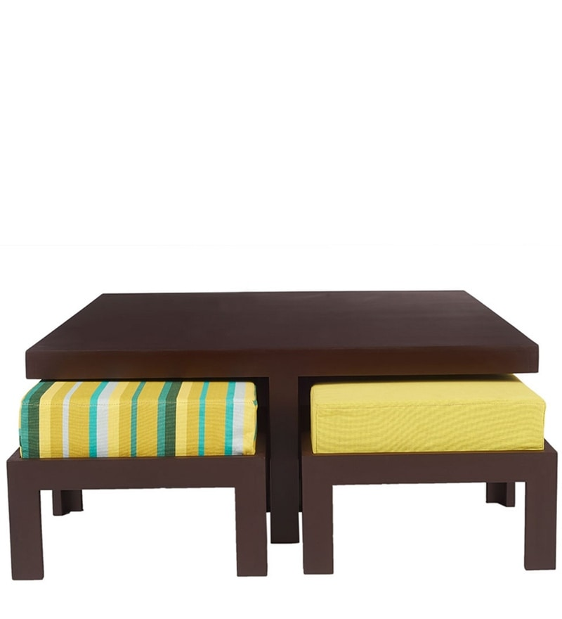 Trendy Coffee Table Set with Four Stools in Green Delite Colour by ARRA
