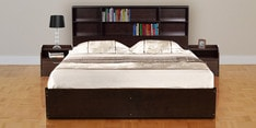 Tsukiko Queen Size Bed with Side Drawers & Storage in Wenge Finish