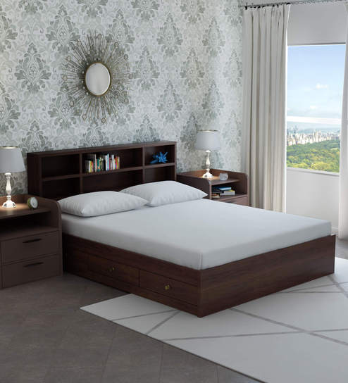 2fb1e10a71 Buy Tsukiko Queen Size Bed with Side Drawers & Headboard Storage in Wenge  Finish by Mintwud Online - Modern Queen Sized Beds - Beds - Furniture -  Pepperfry ...