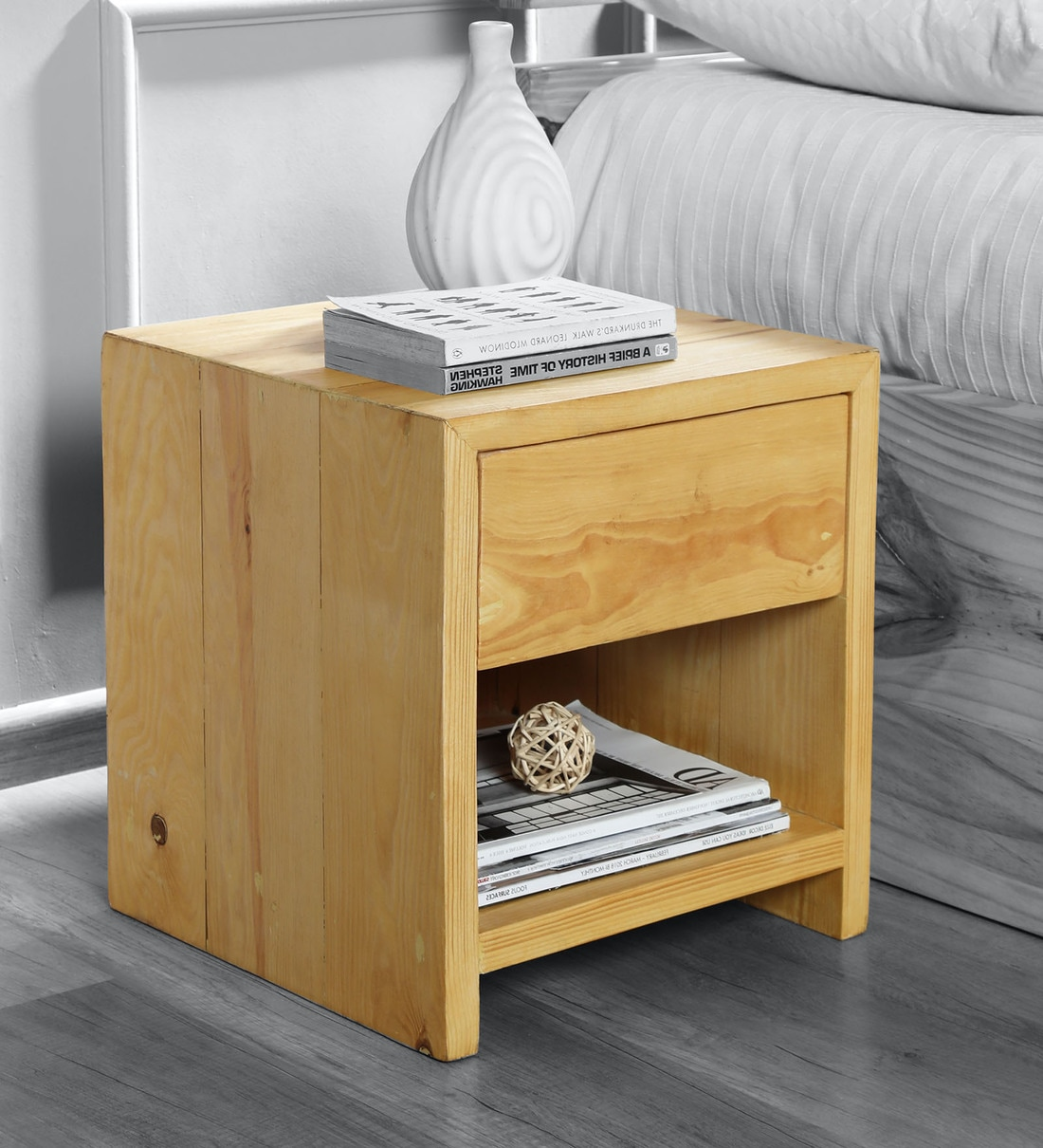 Picture of: Buy Tulip Bedside Table In Pine Wood Colour By Komfort Furnishers Online Modern Night Stands Tables Furniture Pepperfry Product
