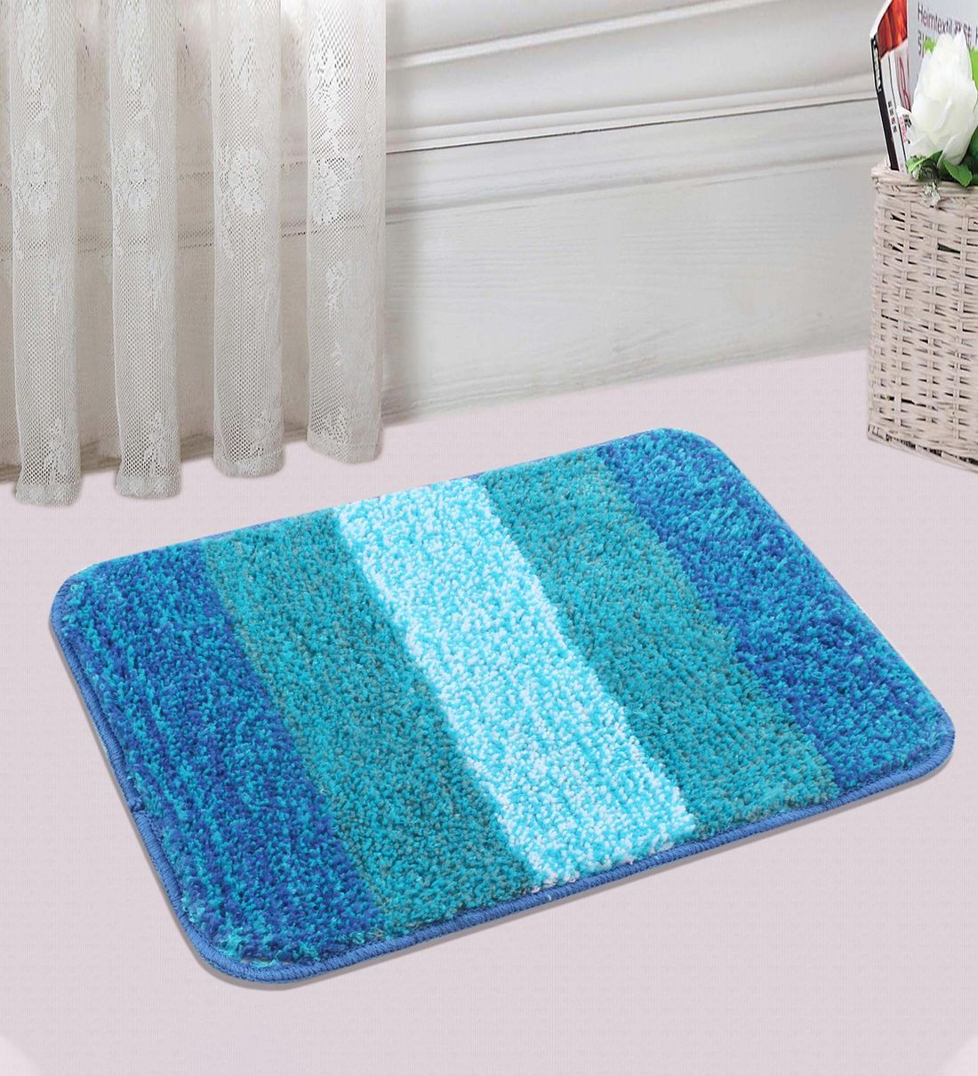 Buy Blue Microfibre Plain Solid 24x16 Inches Antiskid Bath Mat Set Of 2 By Saral Home Online Traditional Bath Mats Bath Mats Furnishings Pepperfry Product