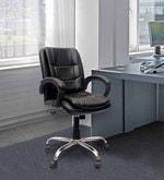 Tuffet Ergonomic Medium Back Chair in Black Color By VJ Interior