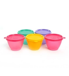 Tupperware Bowled Over - Mulitocolored Conical Shape Storage Bowls 450 Ml - 5 Pc Set