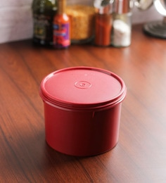 Tupperware Store All Maroon Plastic 1300 ML Canister - Set Of 2