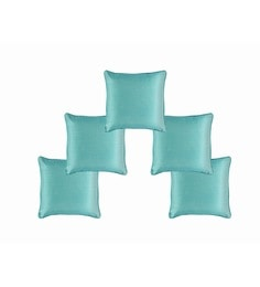 Turquoise Dupion Silk 12 X 12 Inch Cushion Covers - Set Of 5