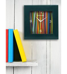Turquoise MDF 12 X 12 Inch Rainbow Square Wall Clock
