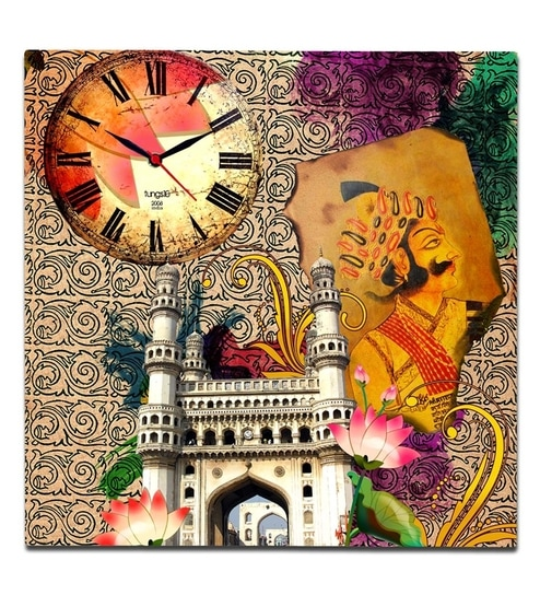 Tungs10 Charminar and Flowers Fusion Canvas Clock