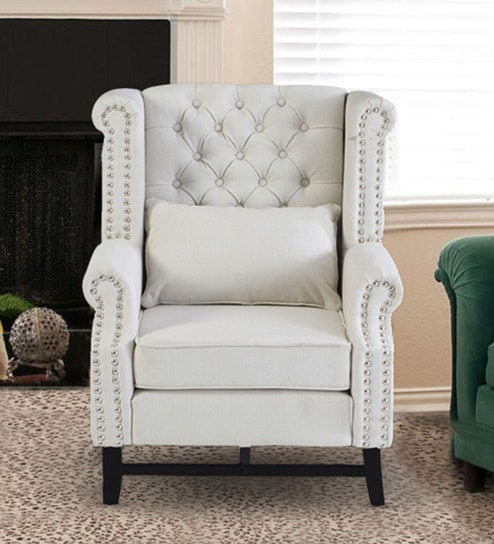 Buy Wing Chair In Off White Colour By Dreamzz Furniture