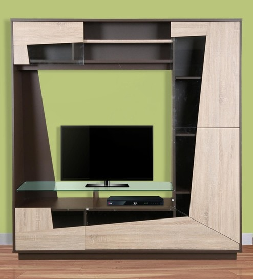 Buy Tulip Wall Entertainment Unit in Light Oak & Dark Brown Finish ...