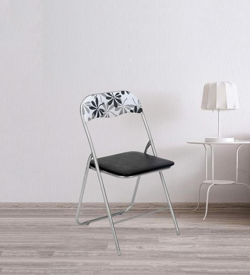 Tulsa Metal Foldable Chair in Black & White Colour by @home