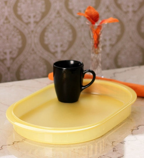 Tupperware Yellow Plastic Oval Serving Tray Set Of 2