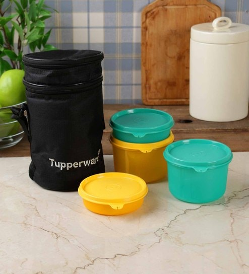 Buy tupperware executive plastic 4 piece lunch box with for Decor 6 piece lunchbox