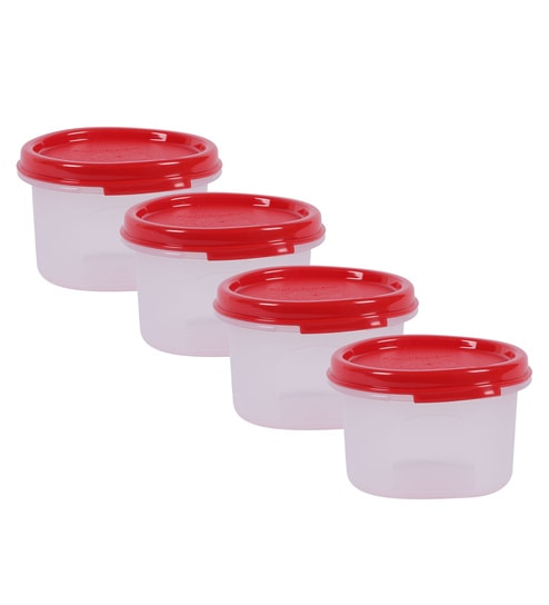 dea6b3e8a7d Tupperware Red Plastic Modular Mate Round 200 ml Airtight Container - set  of 4