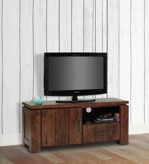 Turin Entertainment Unit In Dark Walnut Finish By The Armchair