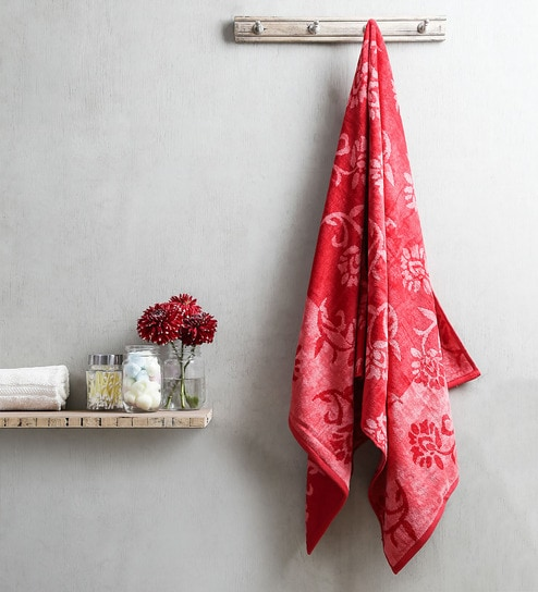 Buy Red Cotton 30 X 58 Bath Towel By Turkish Bath Online Bath
