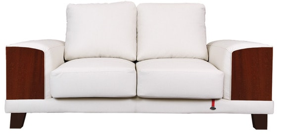 Tucson Two Seater Sofa In Walnut Finish With White Upholstery By Durian