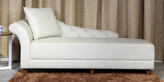 Tufted Back Lounge Chair In Off White Colour By Minthomez