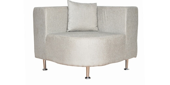 Tulip Single Seater Corner Sofa In Light Grey Colour By Living Room