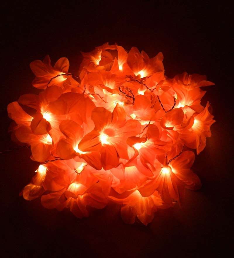 Downward Multicolour Plastic Flower String Light by Tu Casa