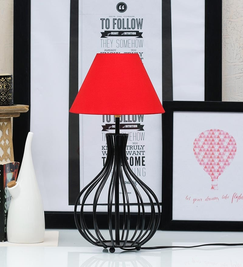 Pyramid Red Poly Cotton Lamp Shade by Tu Casa