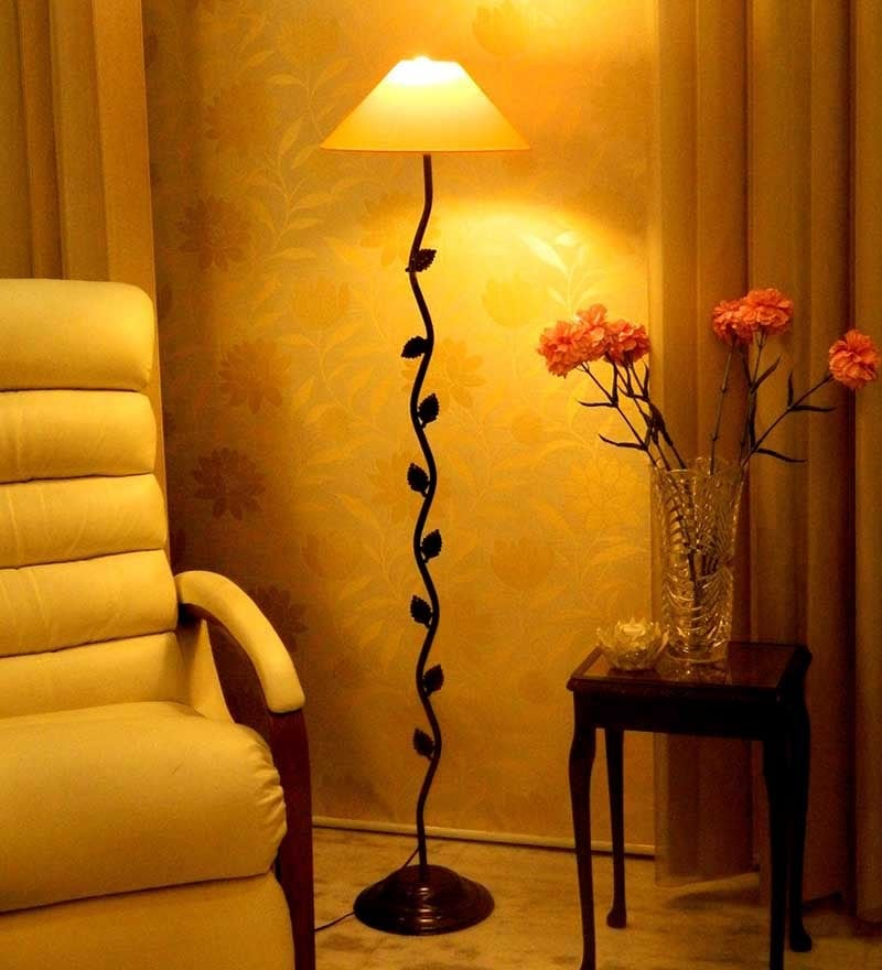 Yellow Poly Cotton Floor Lamp by Tu Casa