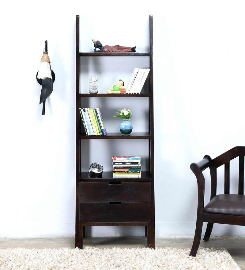 Tulsa Ladder Like Display Unit with Two Drawers in Warm Chestnut Finish by Woodsworth