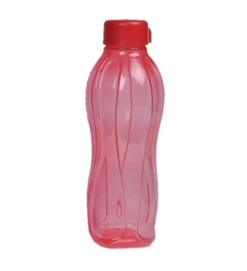 Tupperware Red Round Plastic 1000 ML Bottle - Set of 2