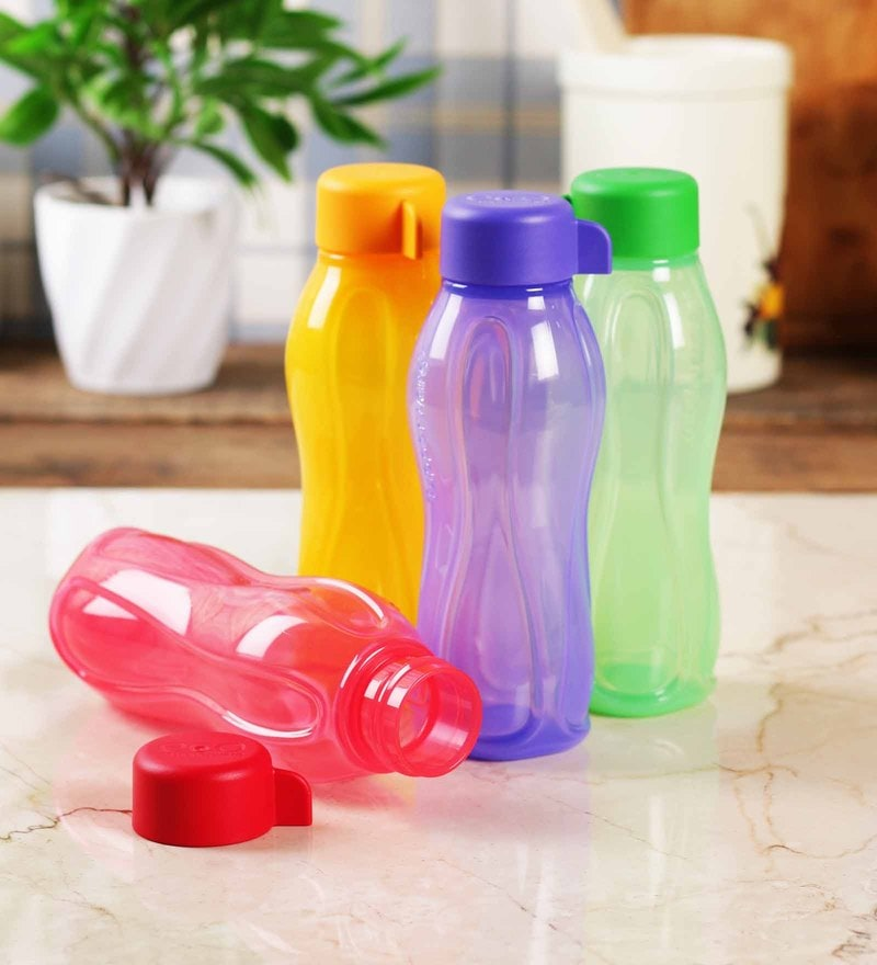 Tupperware Acqua Safe Multicolor Plastic 310 ML Bottle - Set of 4