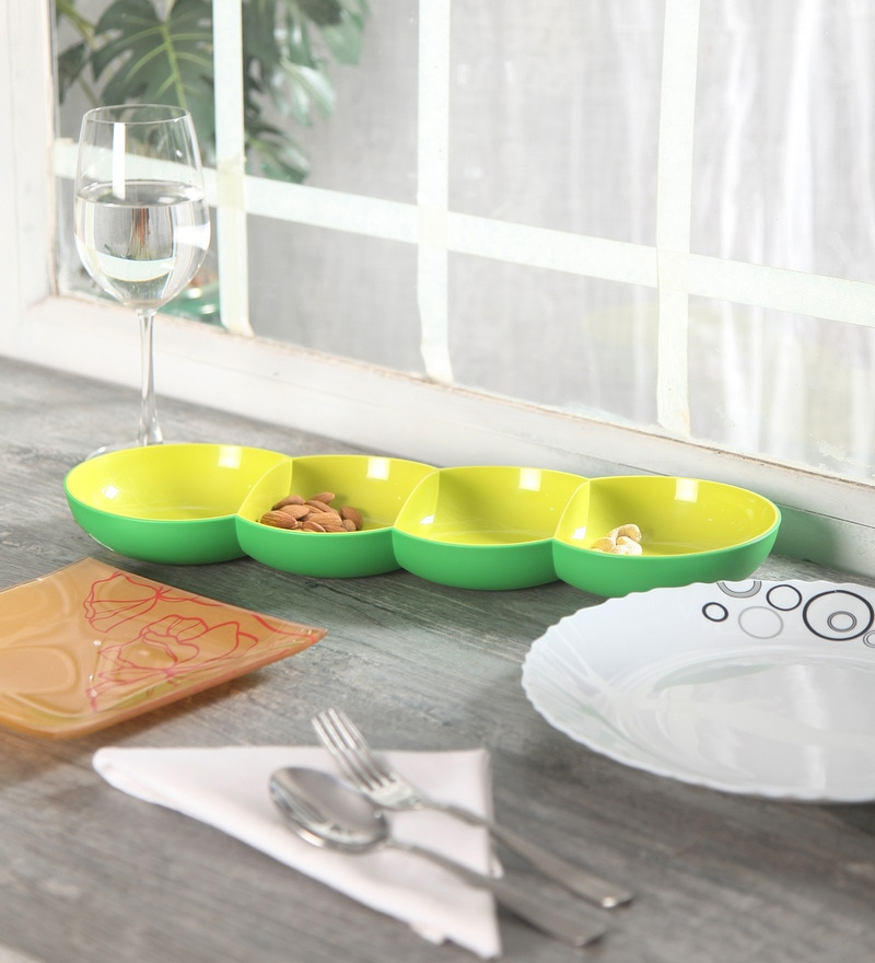 Tupperware Allegra Four Serving Section Green Polycarbonate Tray