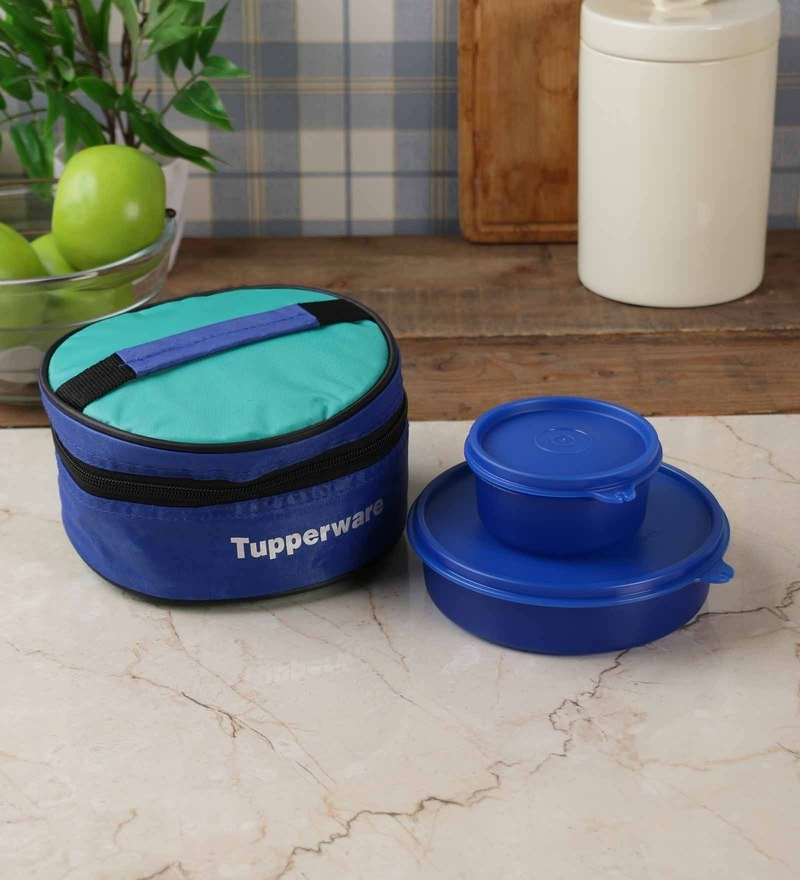 buy tupperware classic blue plastic 2pc lunch box with bag online lunch box set dining bar. Black Bedroom Furniture Sets. Home Design Ideas