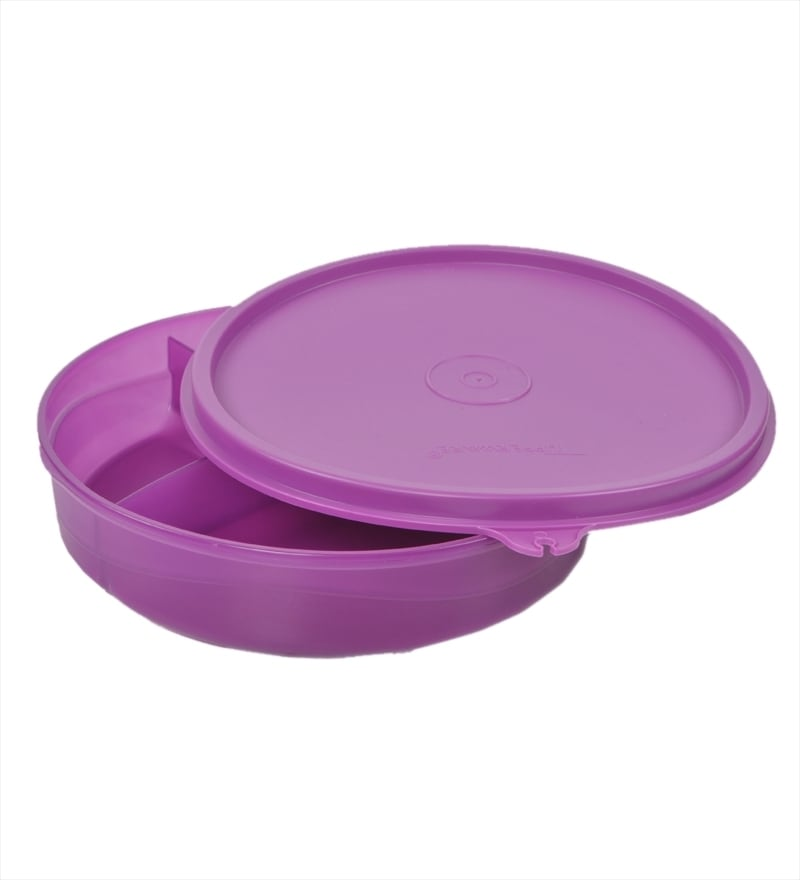 Tupperware Purple Plastic 350 ML Divided Dish Lunch Box - Set of 2