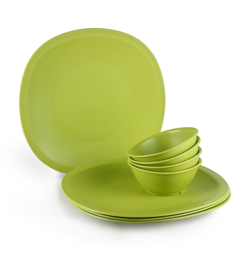 Legacy Green Colour Dinner Set - Set of 8 by Tupperware